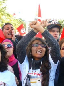 young women demonstrating in Tunis