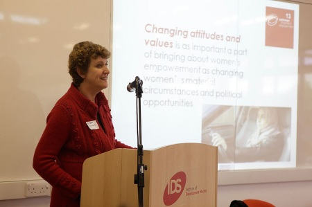 Andrea Cornwall speaking at the conference